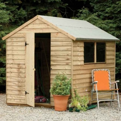 8 x 6 Pressure Treated Wooden Overlap Apex Garden Shed